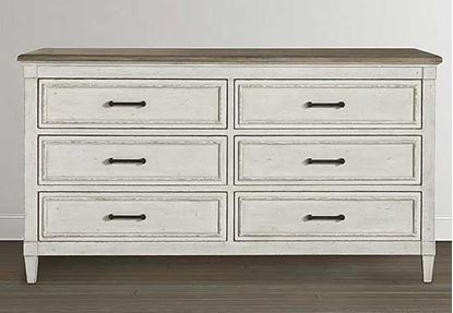 Picture of Bella 6 Drawer Wood Top Dresser